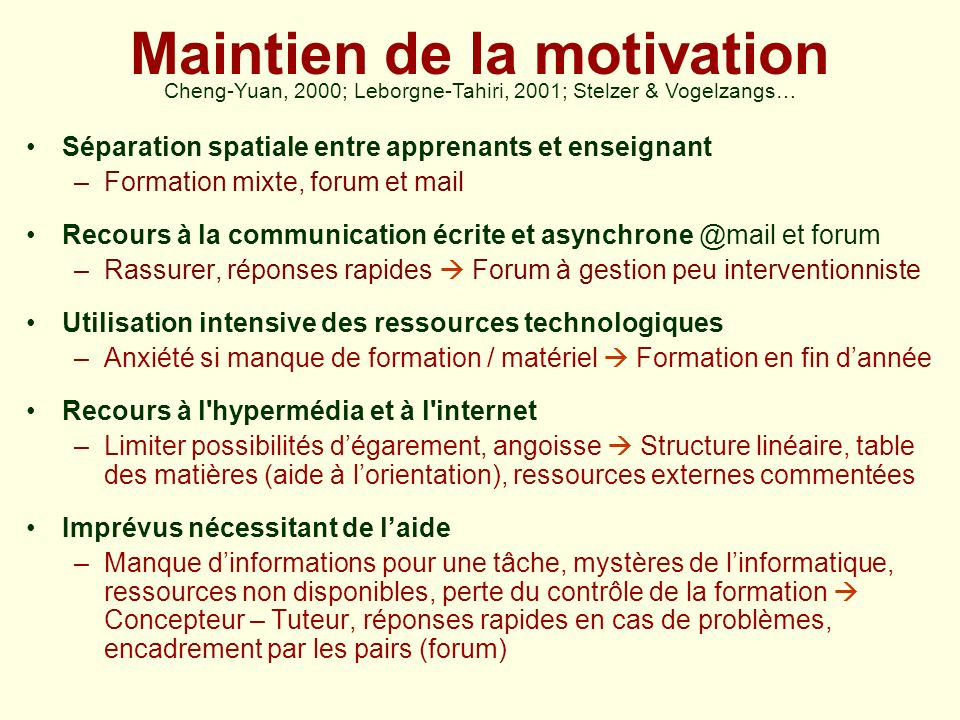 Maintien de la motivation