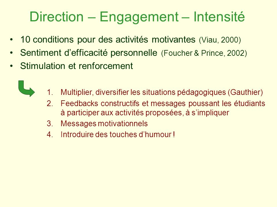 Direction – Engagement – Intensité