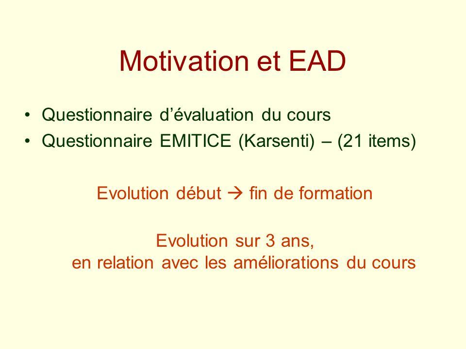 Motivation et EAD Questionnaire d'évaluation du cours