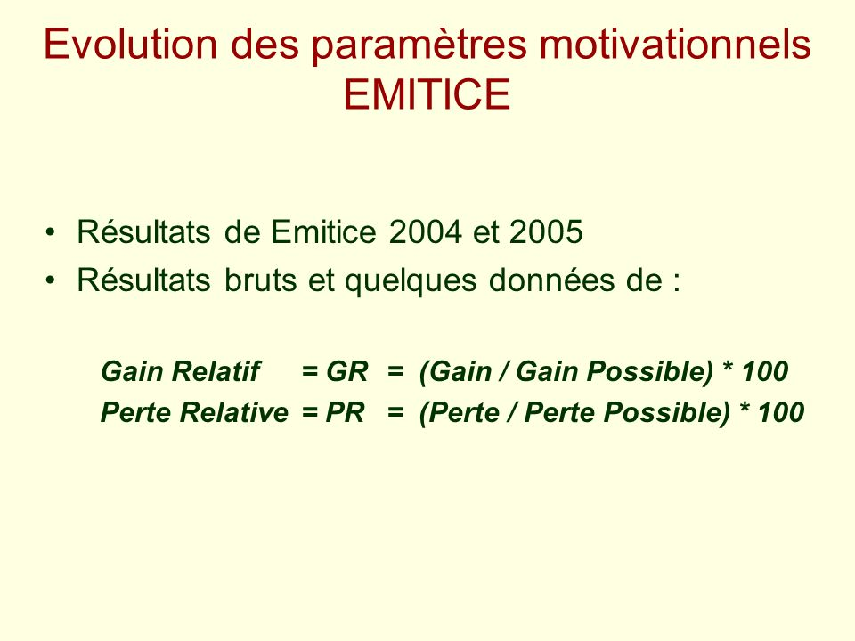 Evolution des paramètres motivationnels EMITICE