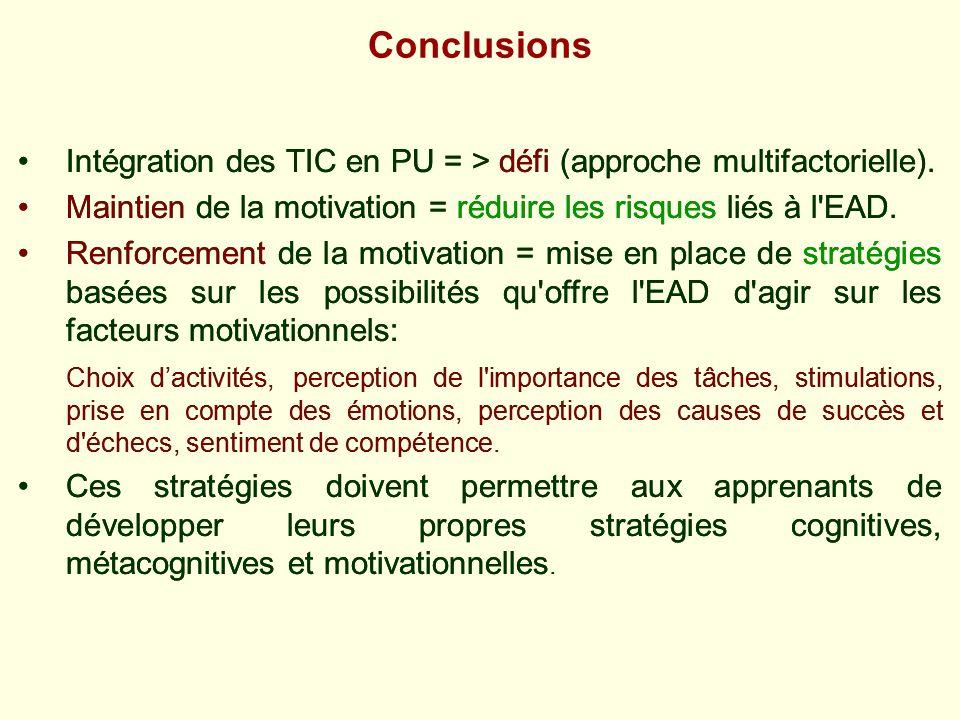 Conclusions Intégration des TIC en PU = > défi (approche multifactorielle). Maintien de la motivation = réduire les risques liés à l EAD.