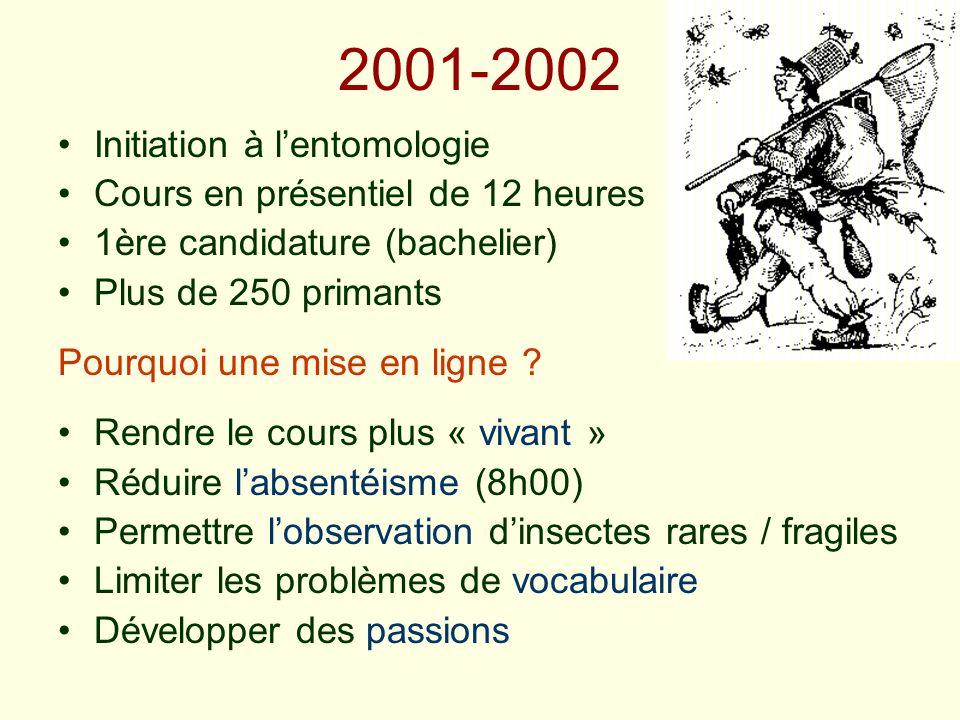 2001-2002 Initiation à l'entomologie Cours en présentiel de 12 heures