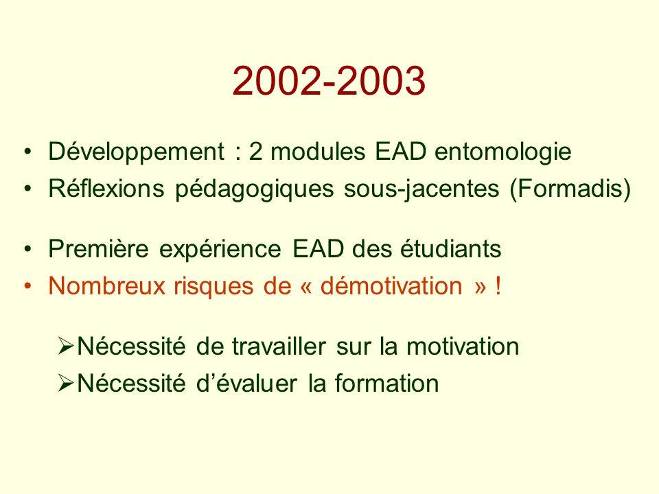 2002-2003 Développement : 2 modules EAD entomologie