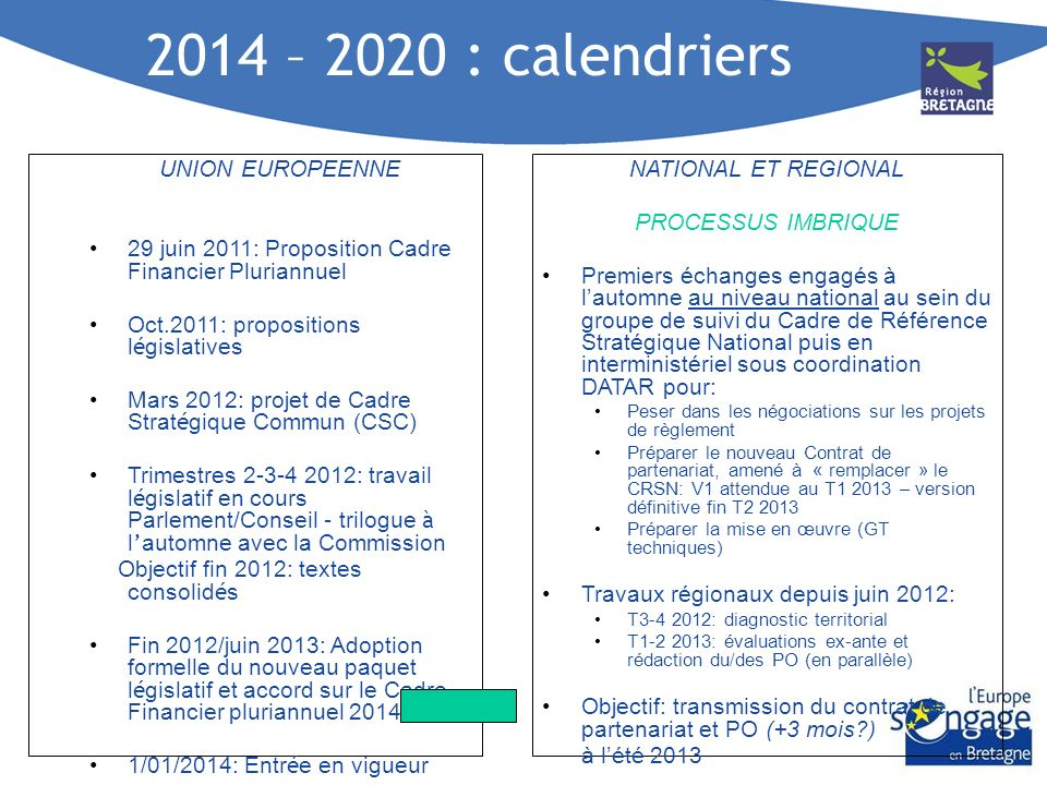 2014 – 2020 : calendriers UNION EUROPEENNE