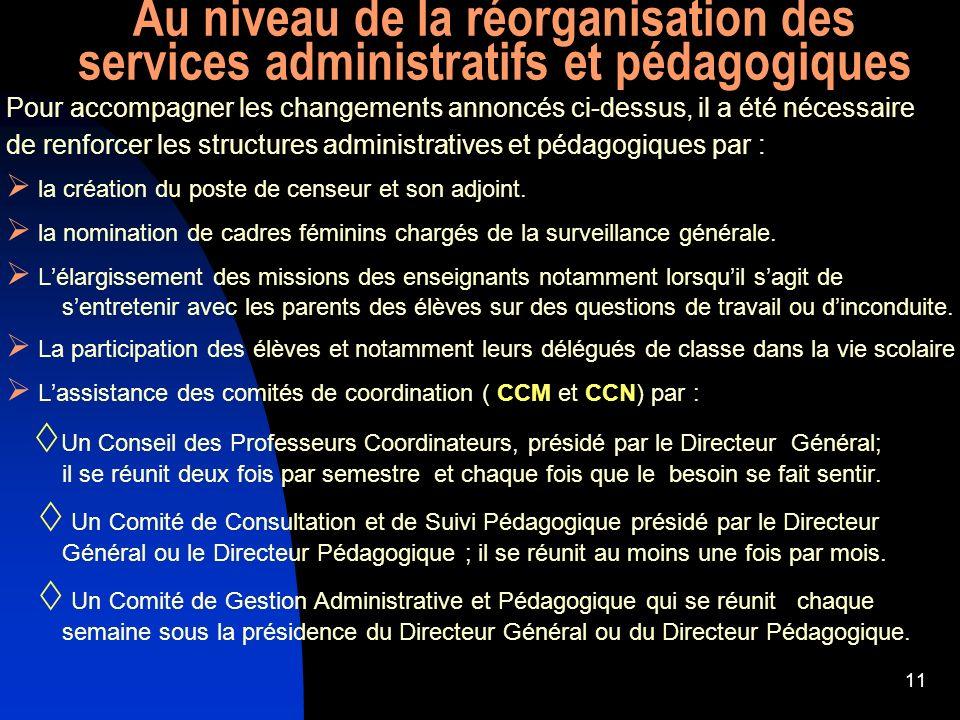Au niveau de la réorganisation des services administratifs et pédagogiques