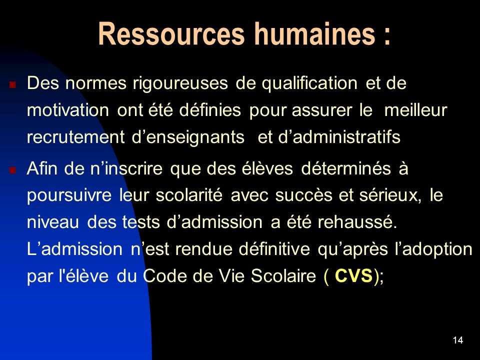 Ressources humaines :