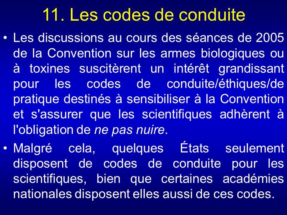 11. Les codes de conduite