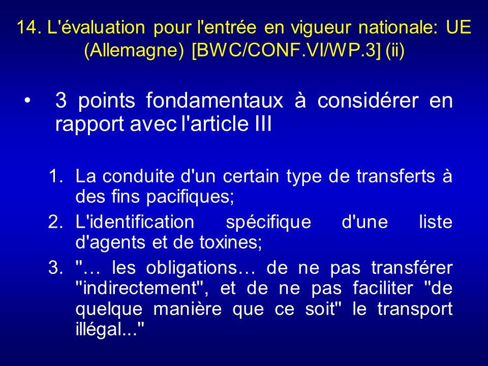3 points fondamentaux à considérer en rapport avec l article III