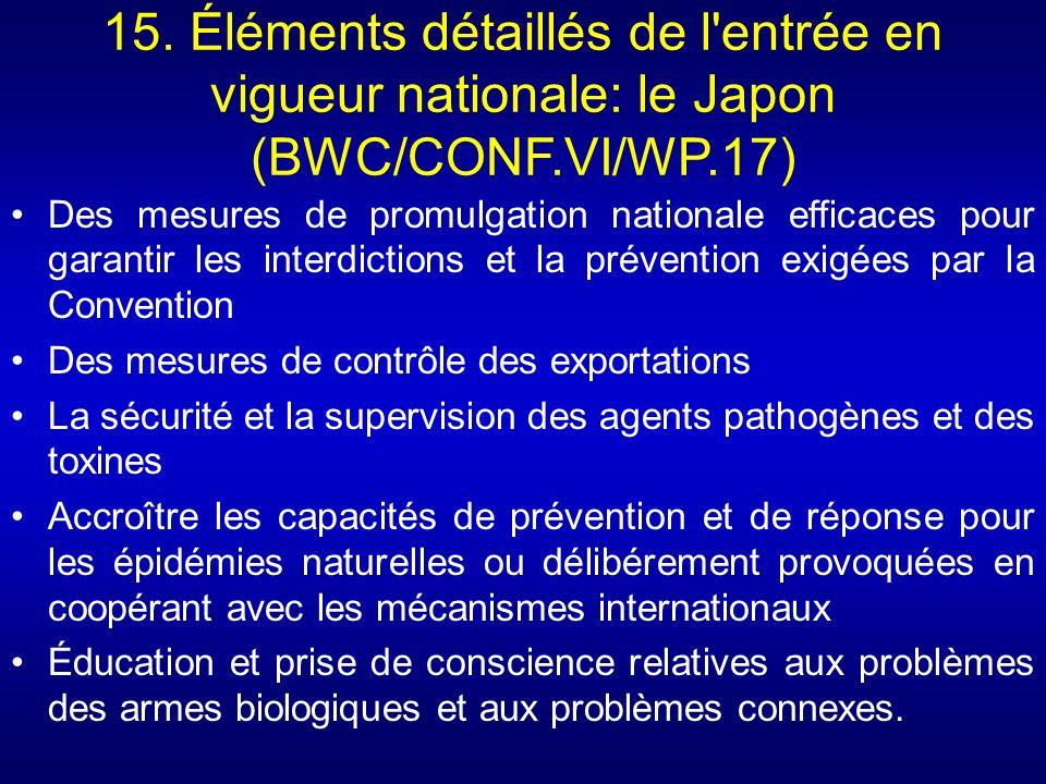 15. Éléments détaillés de l entrée en vigueur nationale: le Japon (BWC/CONF.VI/WP.17)