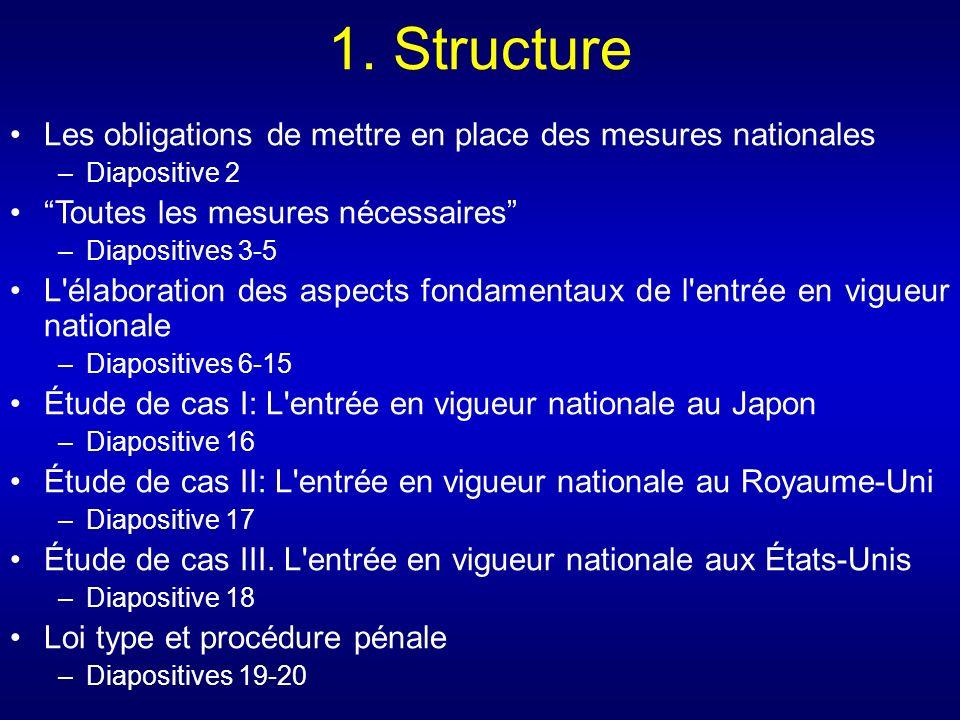 1. Structure Les obligations de mettre en place des mesures nationales