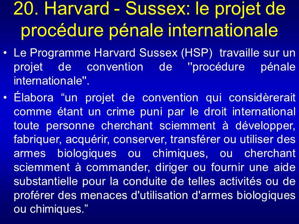 20. Harvard - Sussex: le projet de procédure pénale internationale