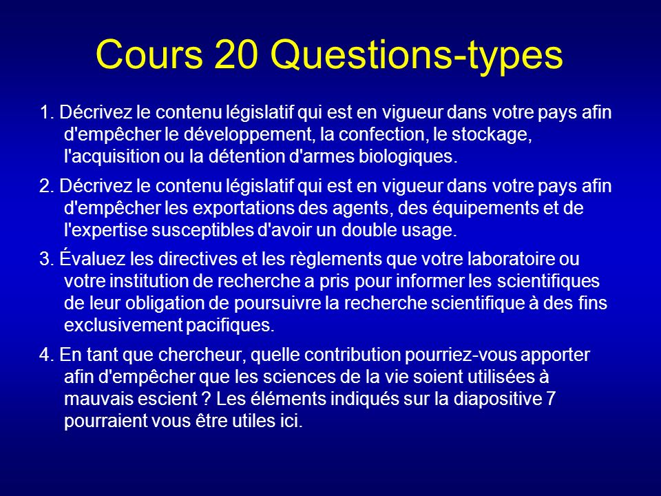 Cours 20 Questions-types