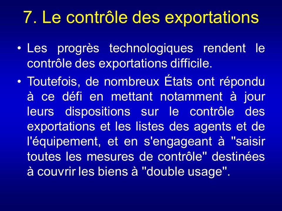 7. Le contrôle des exportations
