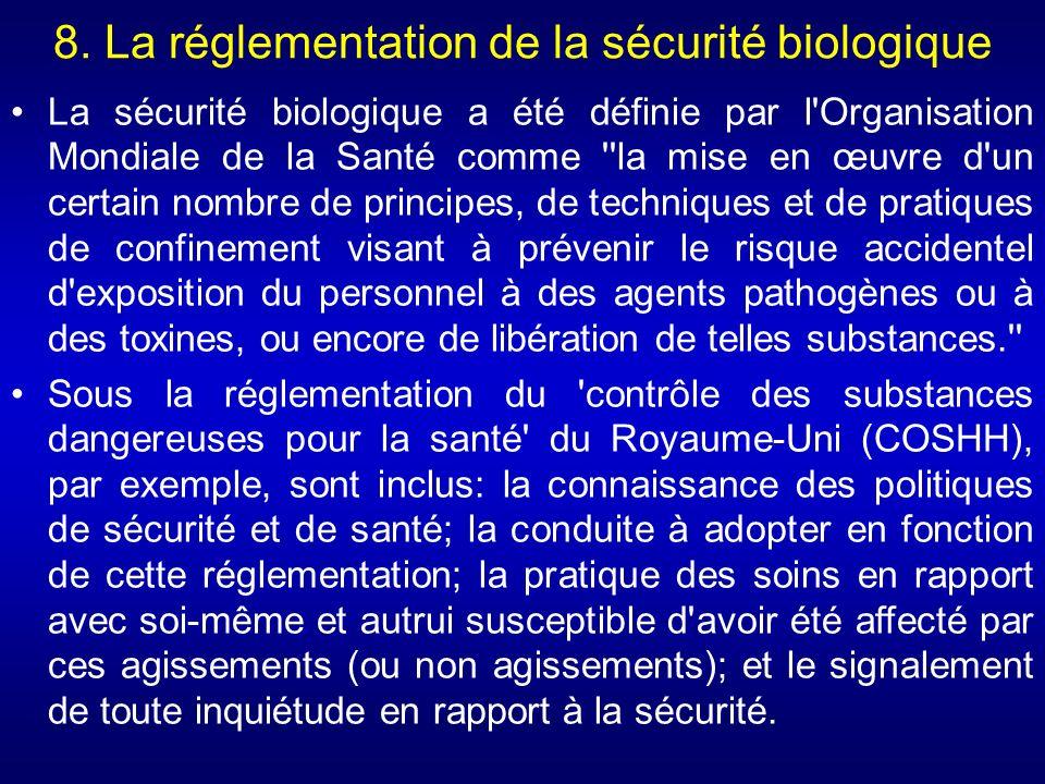 8. La réglementation de la sécurité biologique
