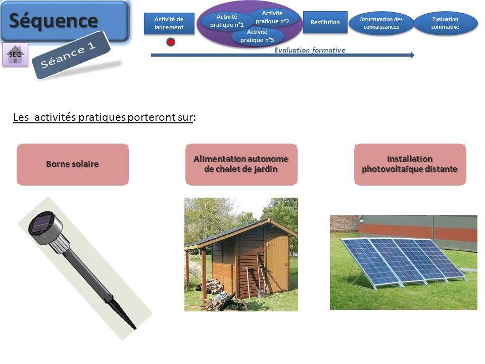 Séquence Séance 1 Les activités pratiques porteront sur: Borne solaire