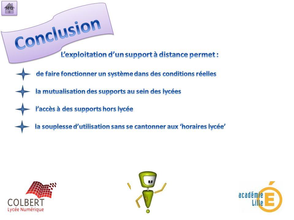 Conclusion L'exploitation d'un support à distance permet :