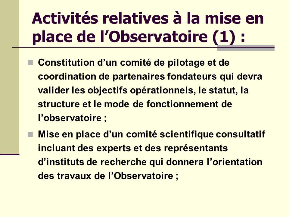 Activités relatives à la mise en place de l'Observatoire (1) :