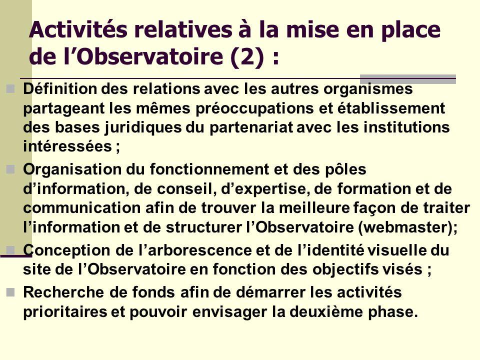 Activités relatives à la mise en place de l'Observatoire (2) :