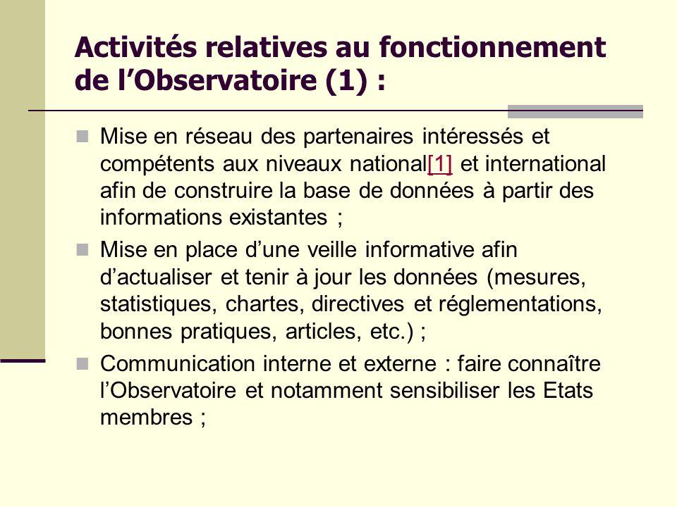 Activités relatives au fonctionnement de l'Observatoire (1) :