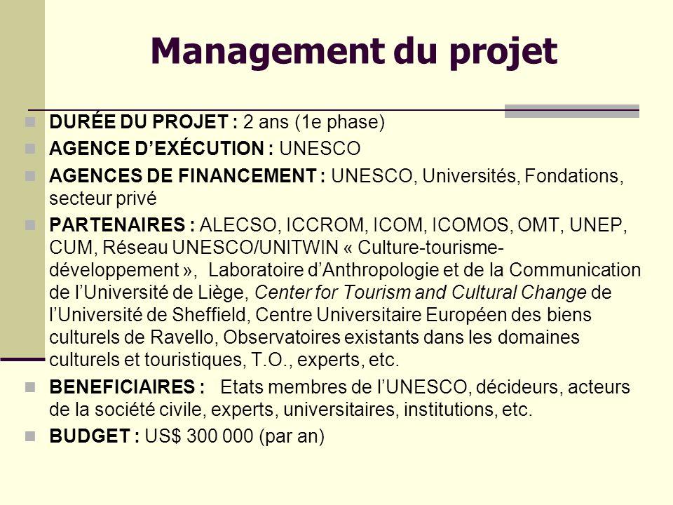 Management du projet DURÉE DU PROJET : 2 ans (1e phase)