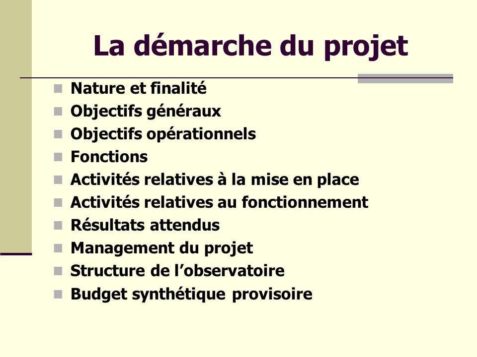 La démarche du projet Nature et finalité Objectifs généraux