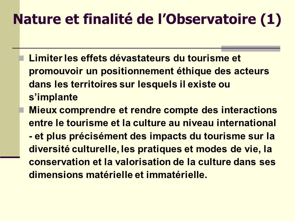 Nature et finalité de l'Observatoire (1)