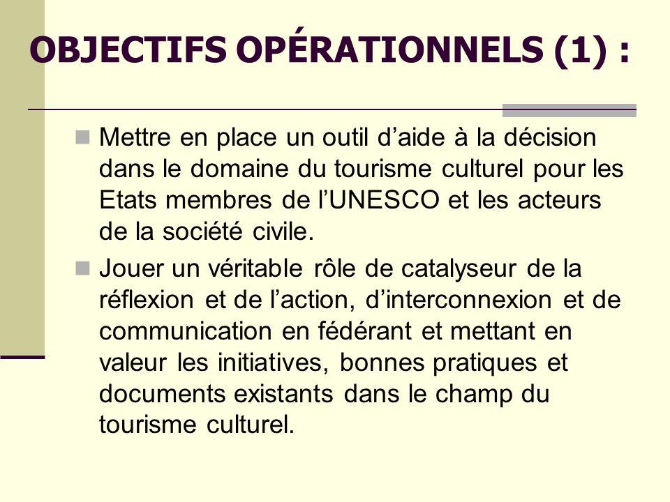OBJECTIFS OPÉRATIONNELS (1) :