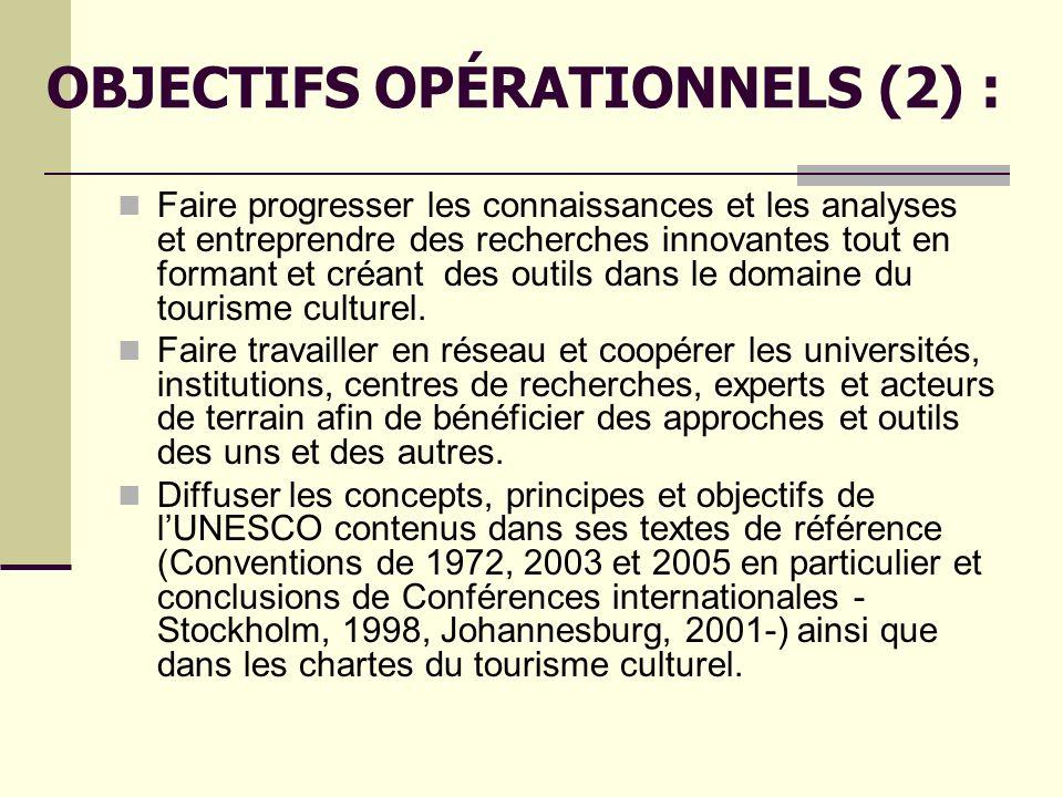 OBJECTIFS OPÉRATIONNELS (2) :