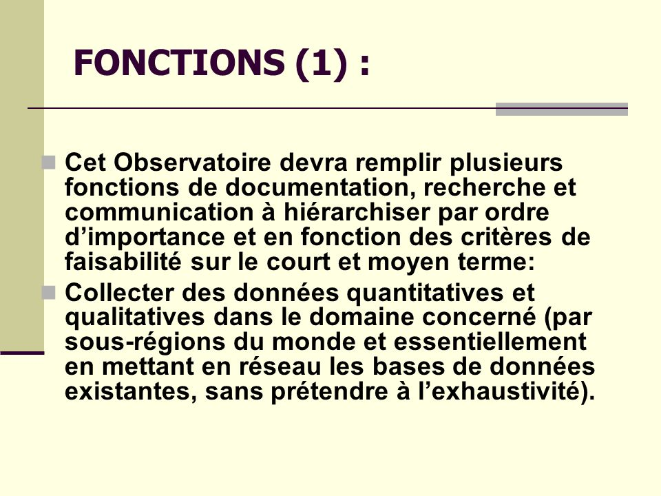 FONCTIONS (1) :