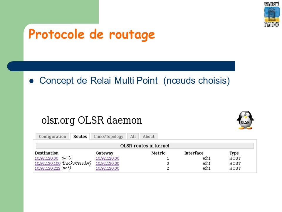 Protocole de routage Concept de Relai Multi Point (nœuds choisis)