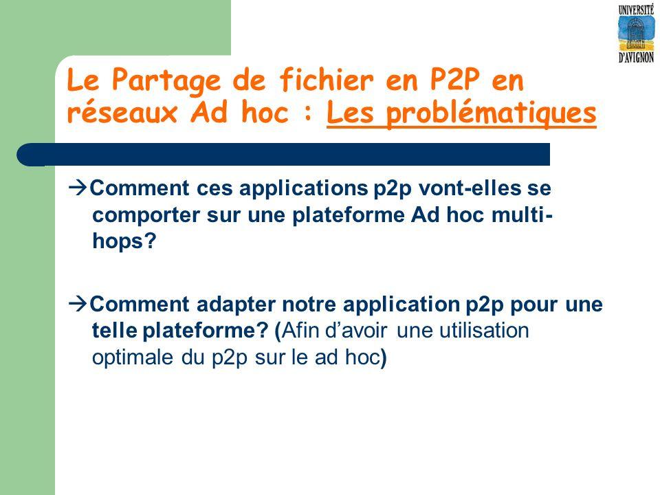 Le Partage de fichier en P2P en réseaux Ad hoc : Les problématiques