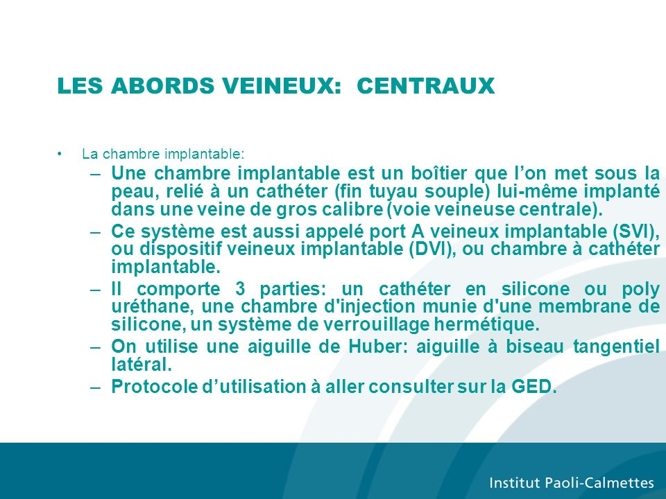 La chimioth rapie ao t ppt t l charger - Protocole chambre implantable ...