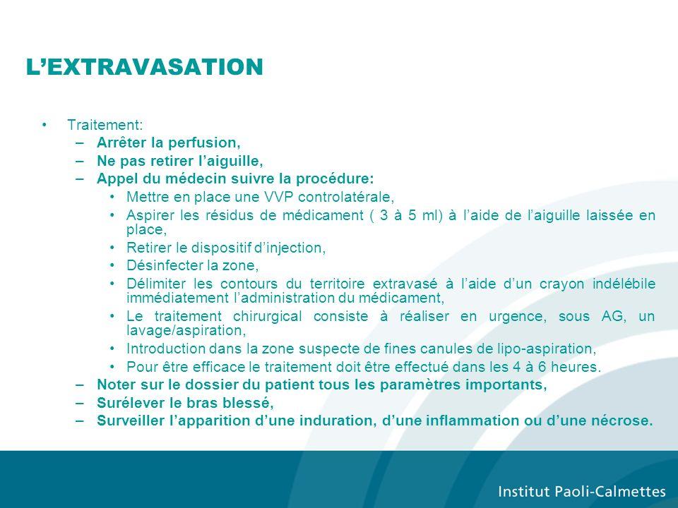 L'EXTRAVASATION Traitement: Arrêter la perfusion,