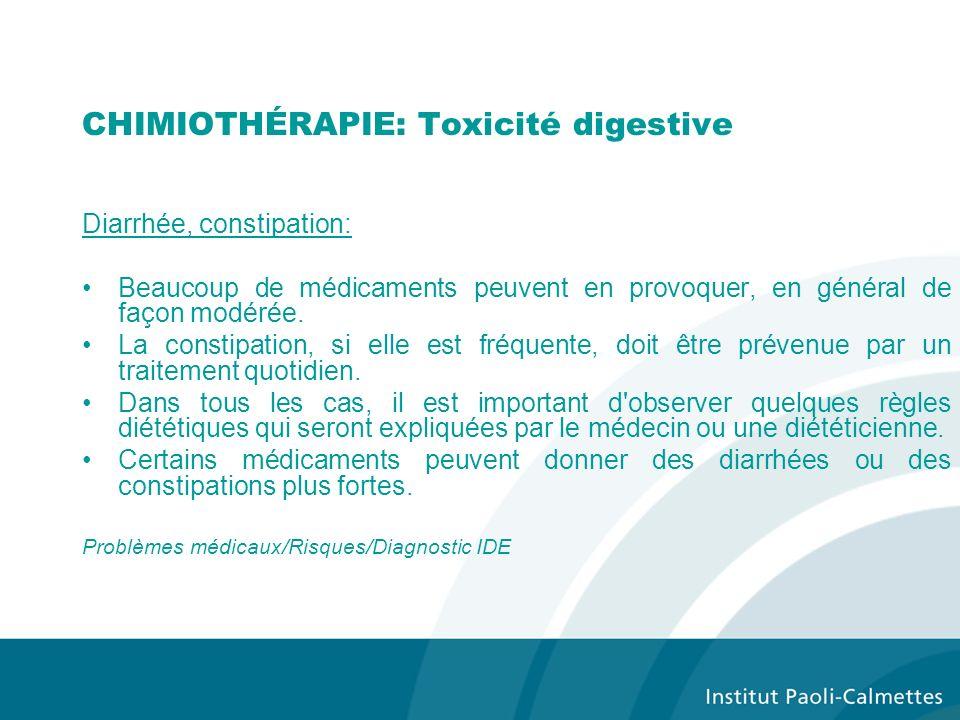 CHIMIOTHÉRAPIE: Toxicité digestive