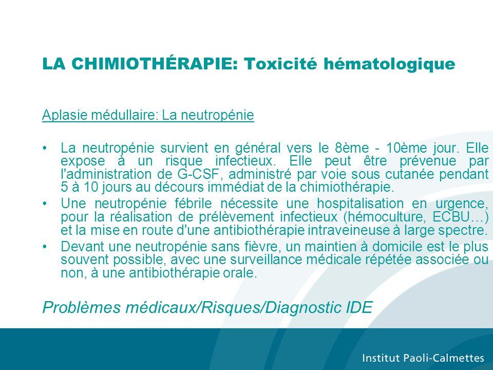 LA CHIMIOTHÉRAPIE: Toxicité hématologique
