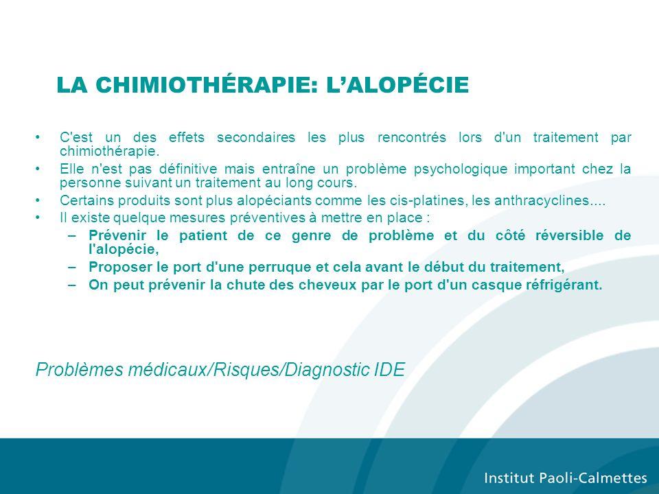 LA CHIMIOTHÉRAPIE: L'ALOPÉCIE