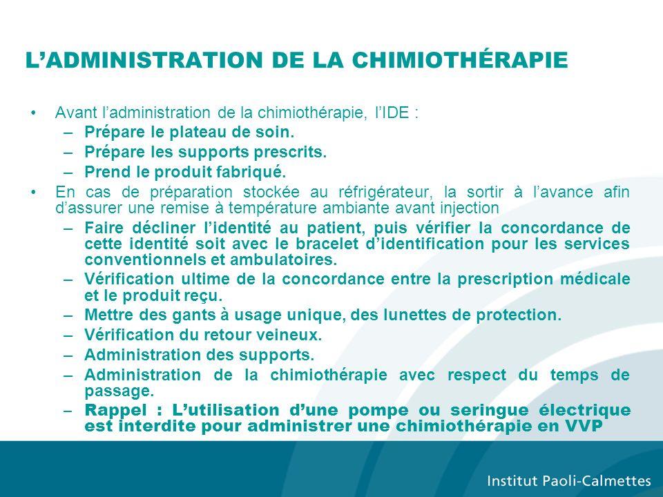 L'ADMINISTRATION DE LA CHIMIOTHÉRAPIE