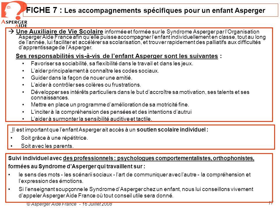 FICHE 7 : Les accompagnements spécifiques pour un enfant Asperger