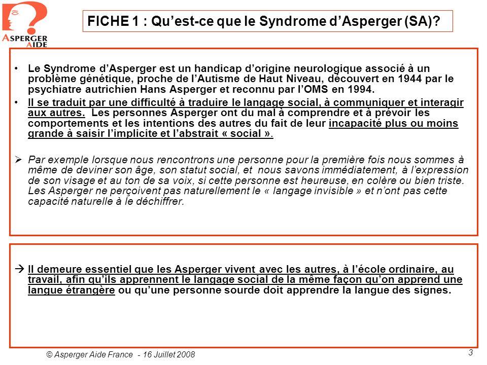 FICHE 1 : Qu'est-ce que le Syndrome d'Asperger (SA)