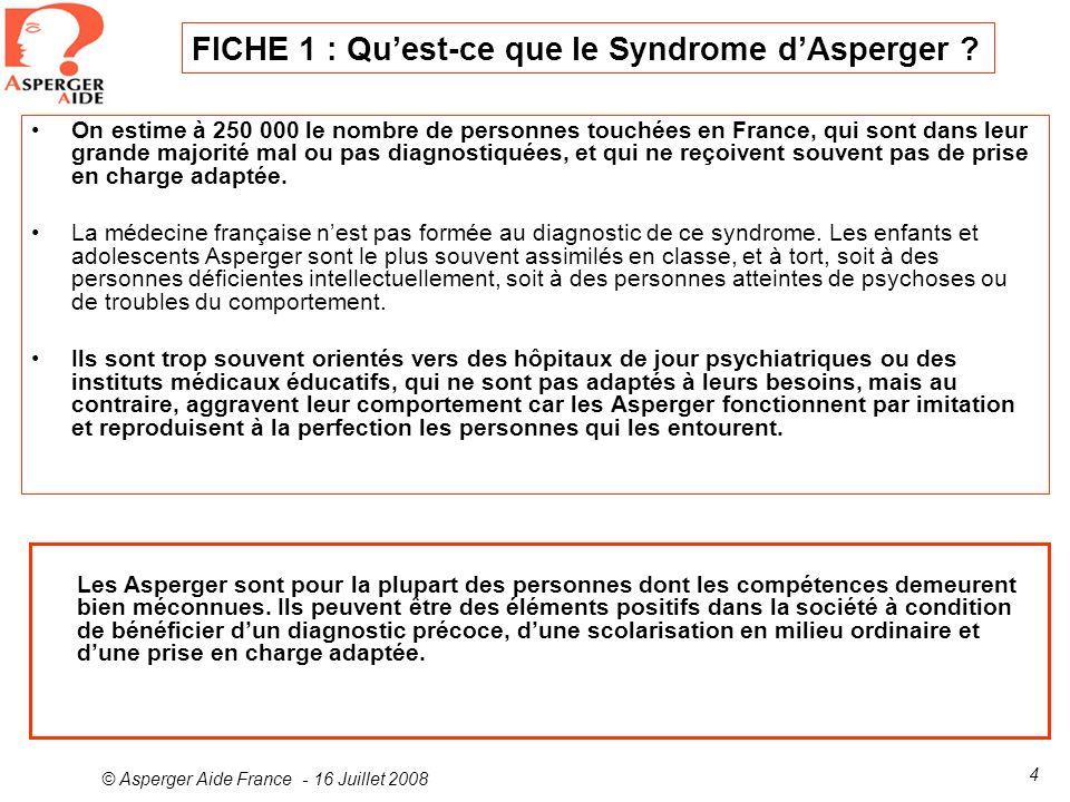 FICHE 1 : Qu'est-ce que le Syndrome d'Asperger