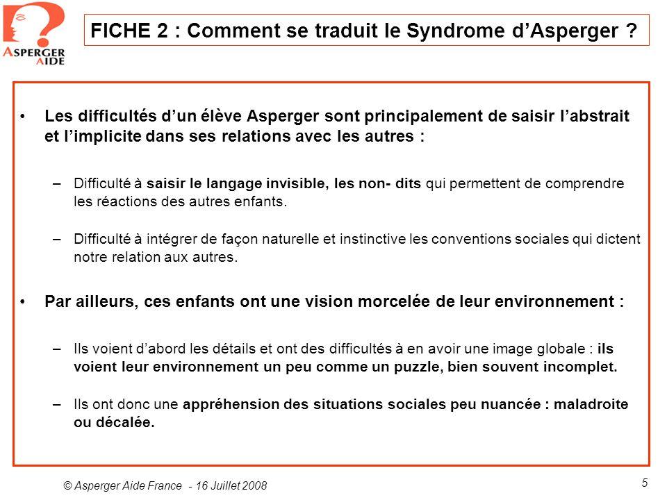 FICHE 2 : Comment se traduit le Syndrome d'Asperger