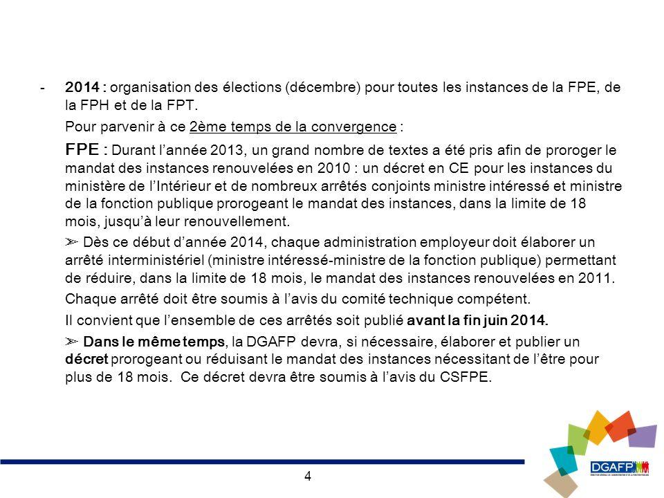2014 : organisation des élections (décembre) pour toutes les instances de la FPE, de la FPH et de la FPT.