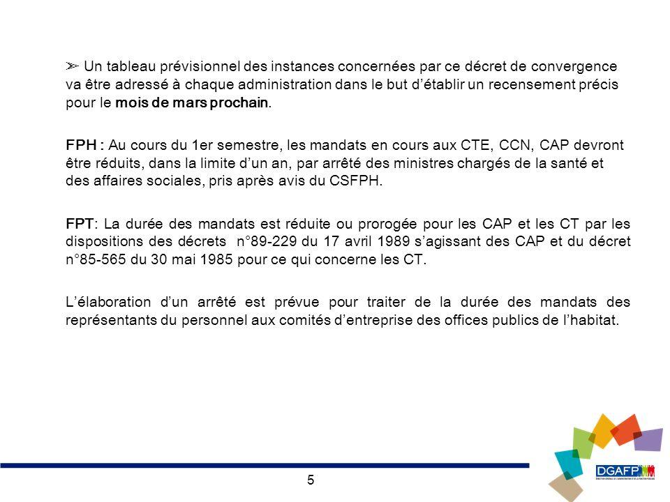 ➣ Un tableau prévisionnel des instances concernées par ce décret de convergence va être adressé à chaque administration dans le but d'établir un recensement précis pour le mois de mars prochain.
