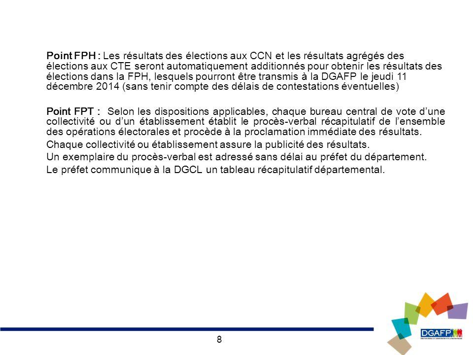 Point FPH : Les résultats des élections aux CCN et les résultats agrégés des élections aux CTE seront automatiquement additionnés pour obtenir les résultats des élections dans la FPH, lesquels pourront être transmis à la DGAFP le jeudi 11 décembre 2014 (sans tenir compte des délais de contestations éventuelles)