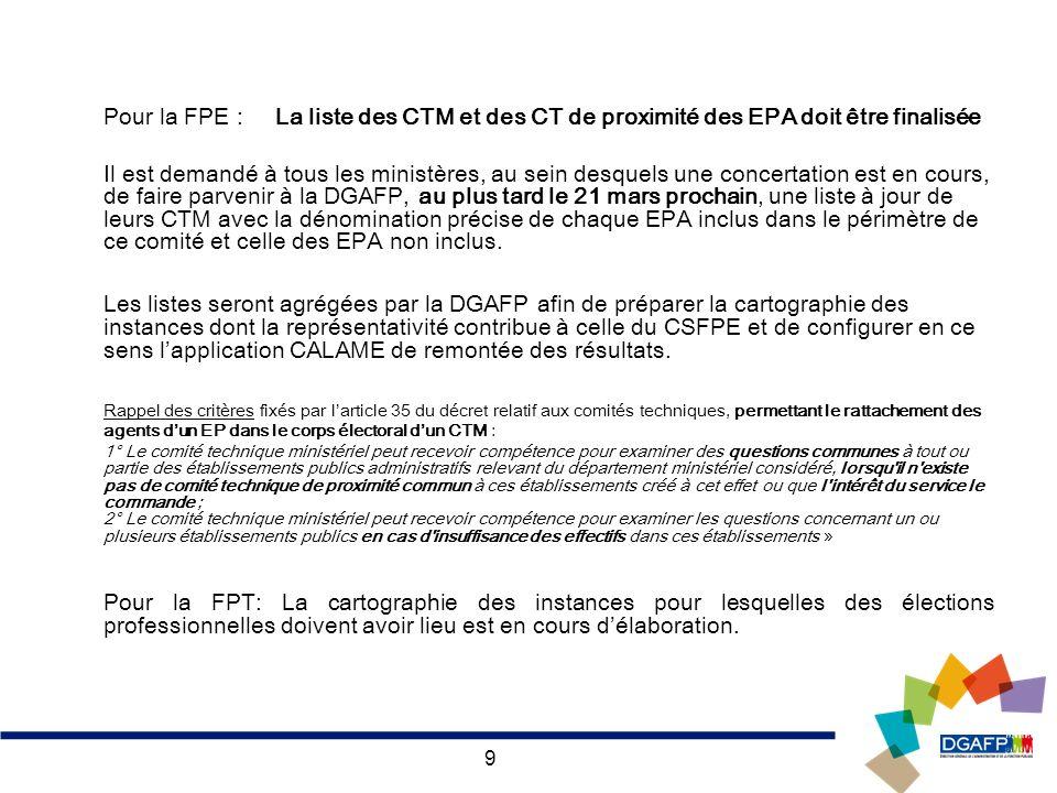 Pour la FPE : La liste des CTM et des CT de proximité des EPA doit être finalisée