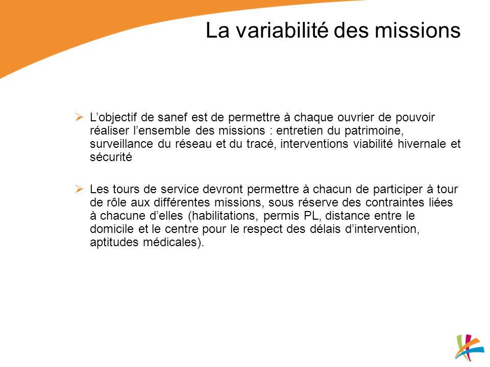 La variabilité des missions
