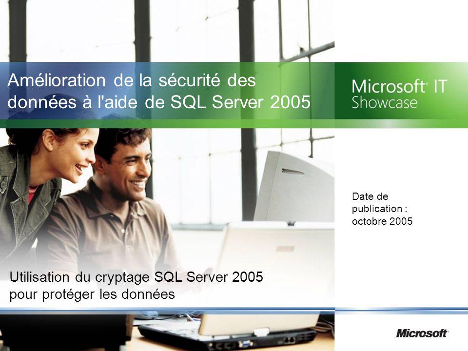 Amélioration de la sécurité des données à l aide de SQL Server 2005