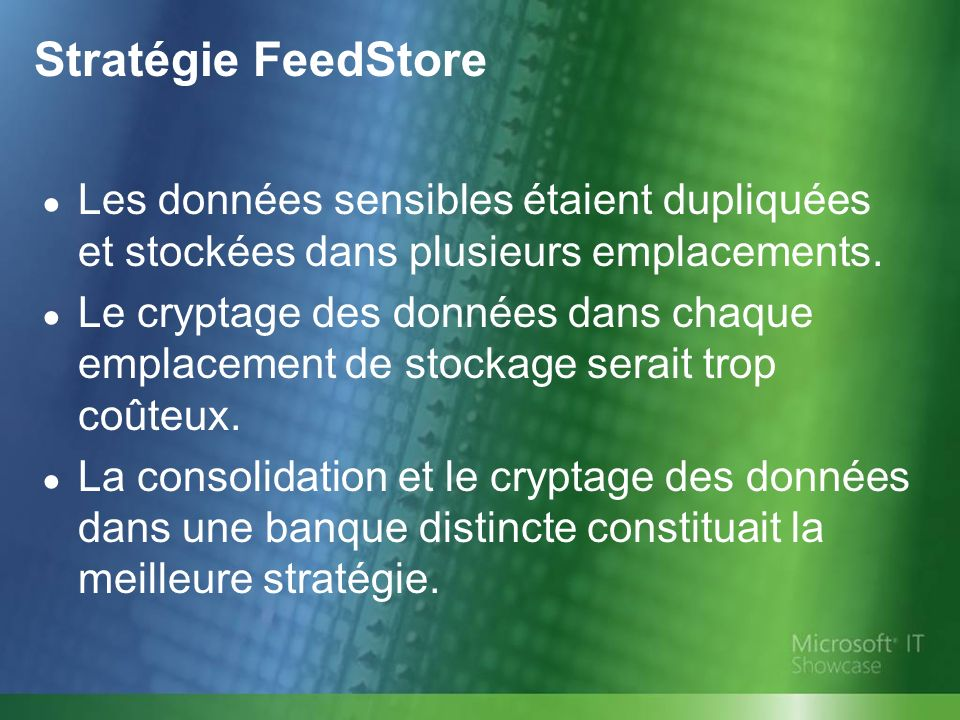Stratégie FeedStore Les données sensibles étaient dupliquées et stockées dans plusieurs emplacements.