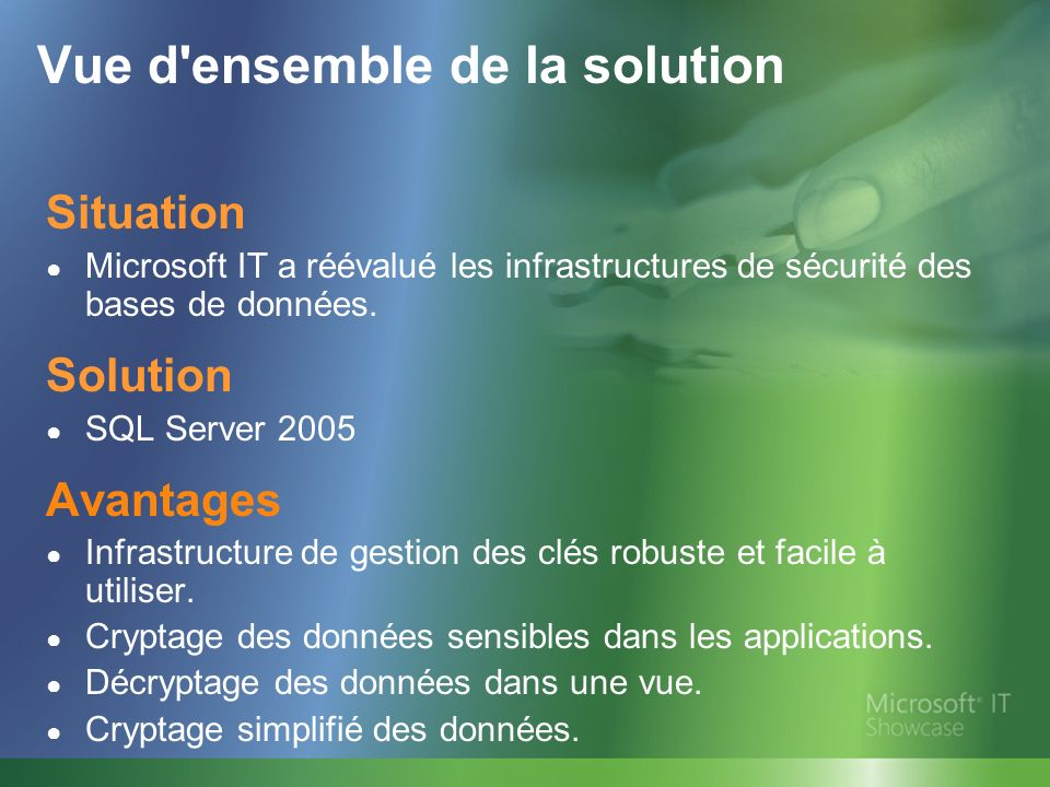 Vue d ensemble de la solution