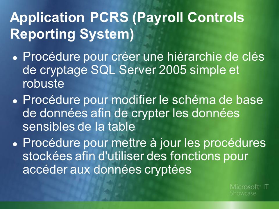 Application PCRS (Payroll Controls Reporting System)